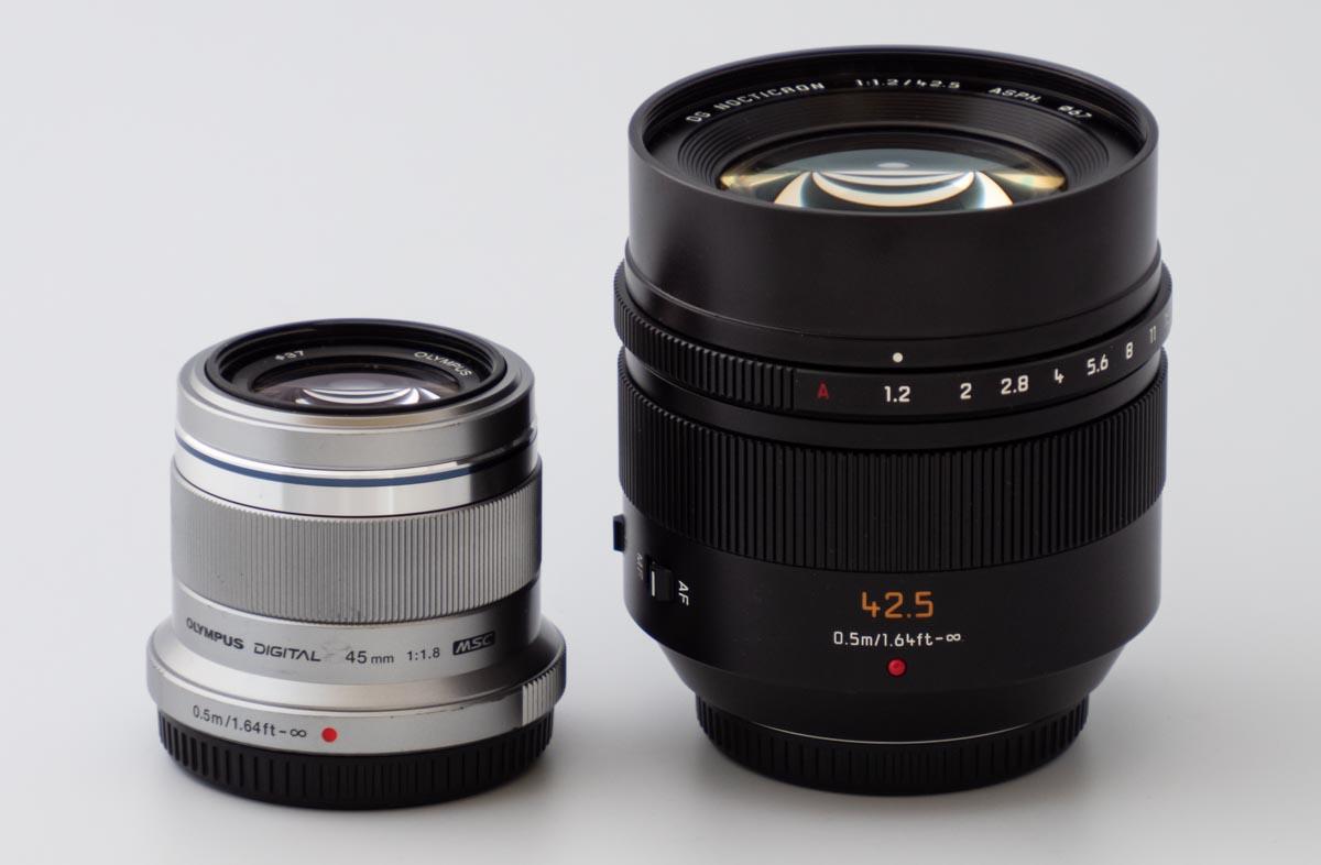 M.ZUIKO DIGITAL 45mm F1.8 と LEICA DG NOCTICRON 42.5mm/F1.2