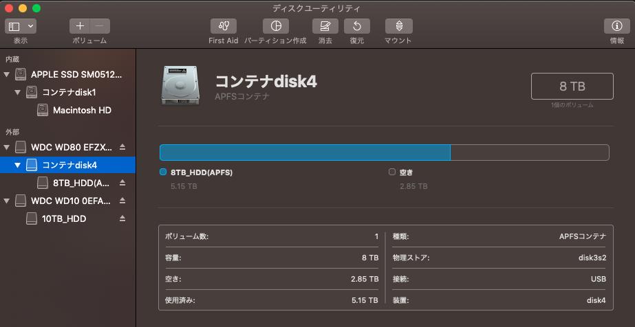 ディスクユーティリティ画面