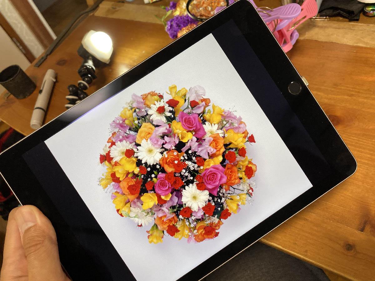 iPadに表示させた花