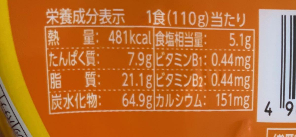 カロリーは481kcal