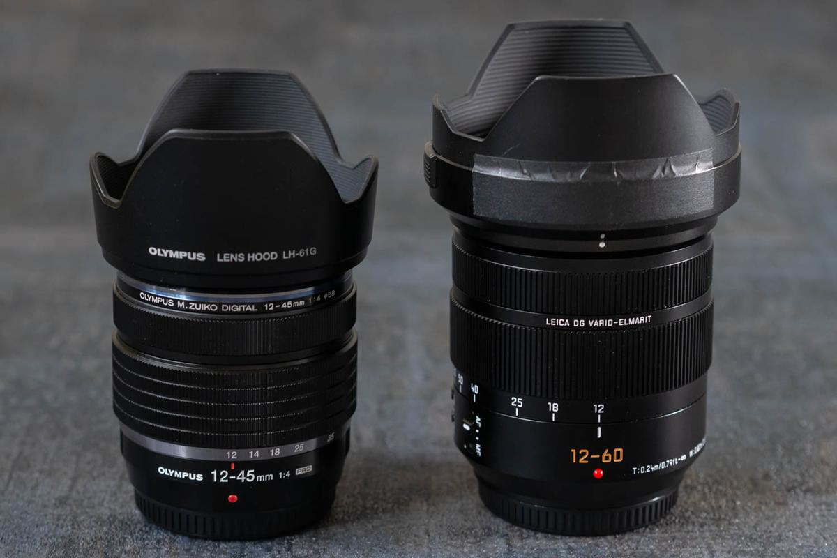12-60mm/F2.8-4.0との比較 フード付き