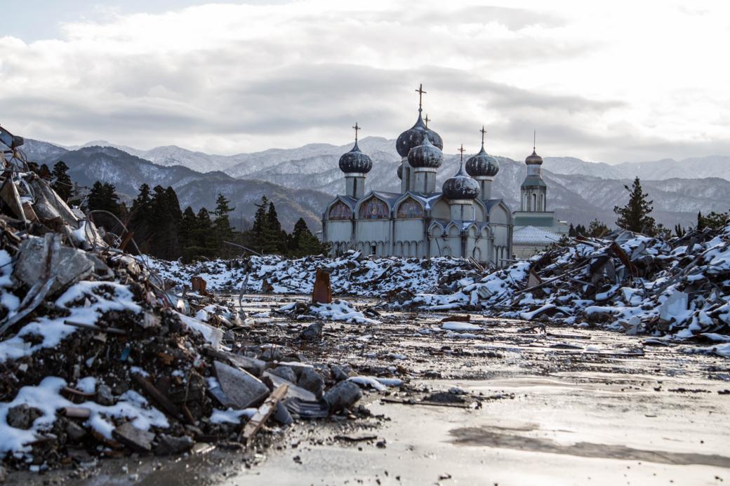 雪景色と新潟ロシア村