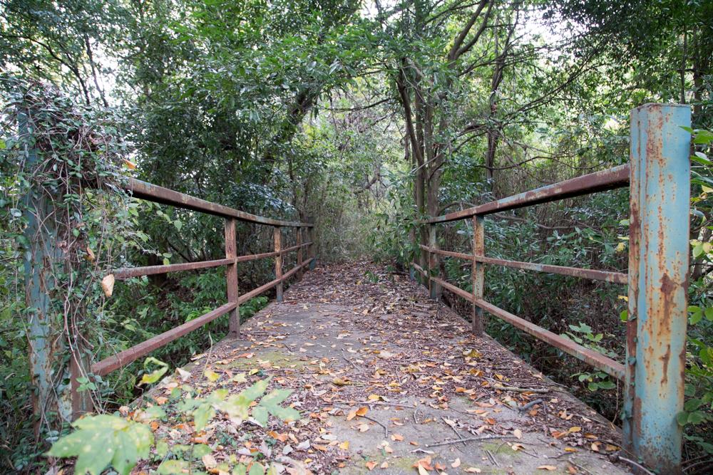 山道に突如現れた鉄の橋