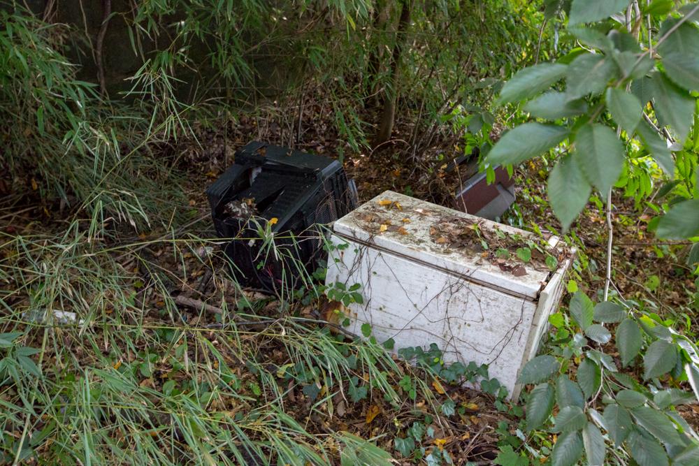 獣道の途中で見つけた不法投棄物