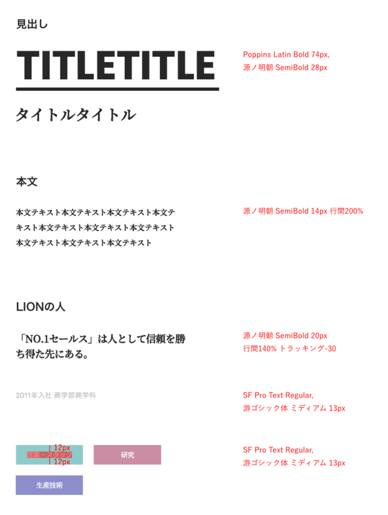 デザインガイドライン:タイポグラフィコンテンツの一部分