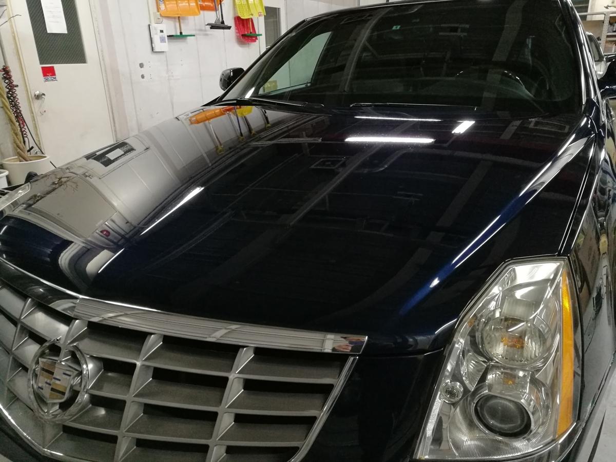 キャデラック/DTS 研磨+樹脂結合型ボディコーティング+ヘッドライトコーティング 札幌