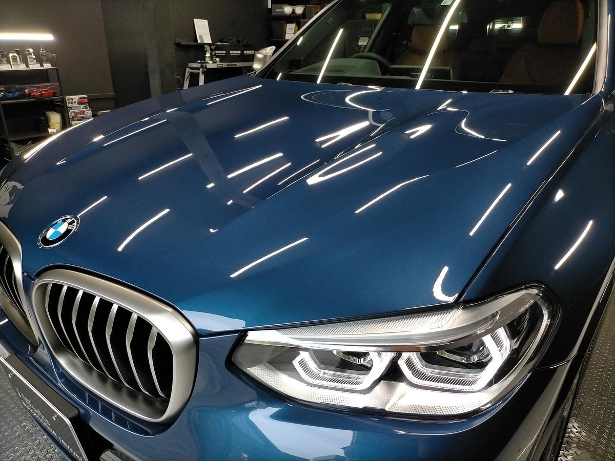 BMW/X3 M40d ボディ研磨+樹脂硬化型コーティング【Ω /OMEGA】  +ヘッドライトコーティング・ウインドウウロコ取りコーティング+ホイールコーティング+本革レザー保湿トリートメント札幌2