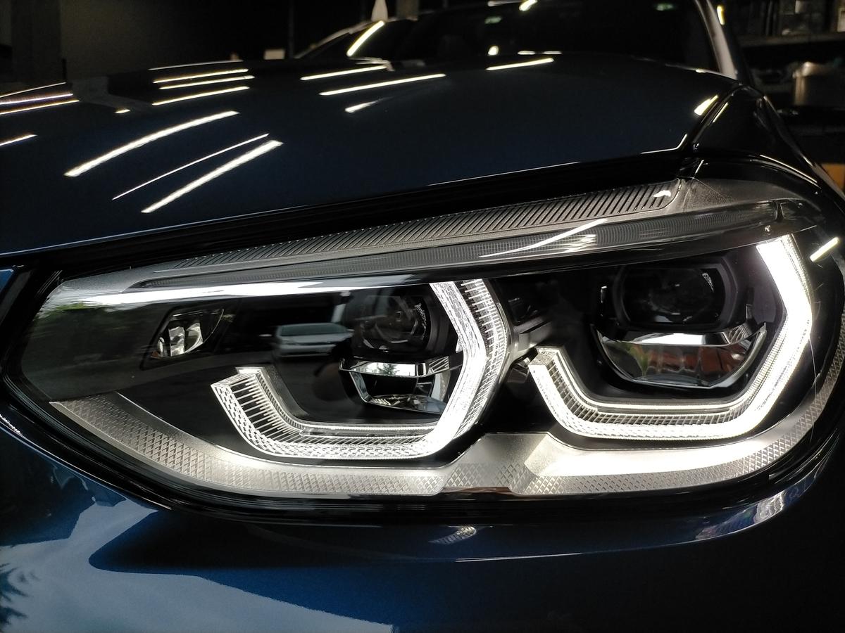 BMW/X3 M40d ボディ研磨+樹脂硬化型コーティング【Ω /OMEGA】  +ヘッドライトコーティング・ウインドウウロコ取りコーティング+ホイールコーティング+本革レザー保湿トリートメント札幌5