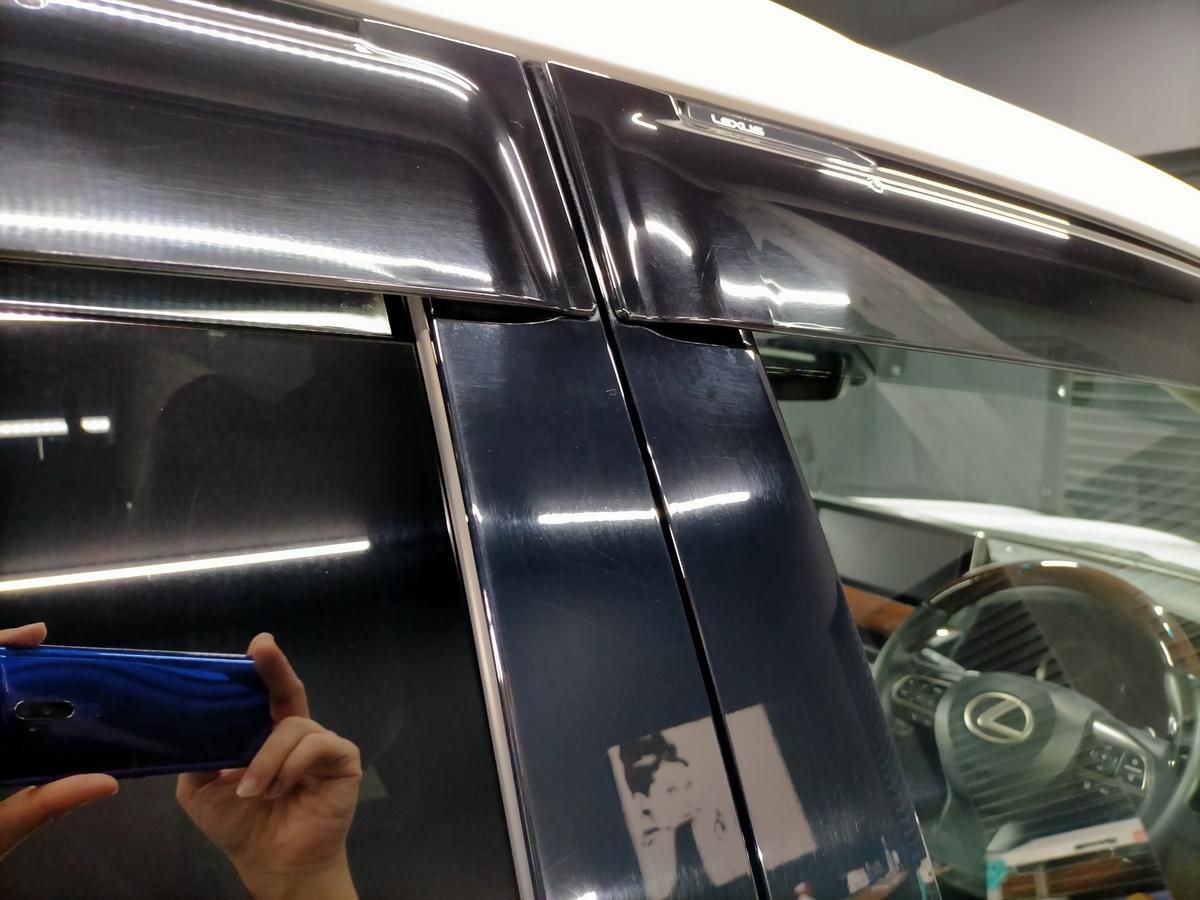 レクサス/LX570ウィンドウガラス/サンルーフ ウロコ(水垢・スケール・ウォータースポット)除去+撥水加工札幌北広島江別恵庭7