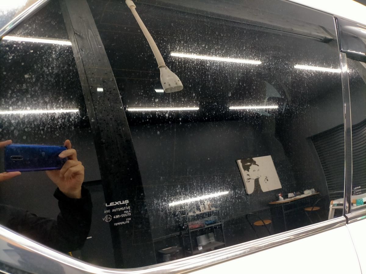 レクサス/LX570ウィンドウガラス/サンルーフ ウロコ(水垢・スケール・ウォータースポット)除去+撥水加工札幌北広島江別恵庭8