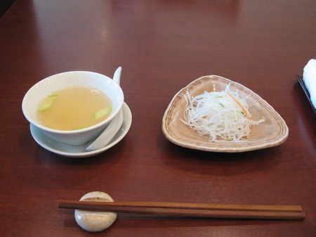 スープ、春雨の和え物