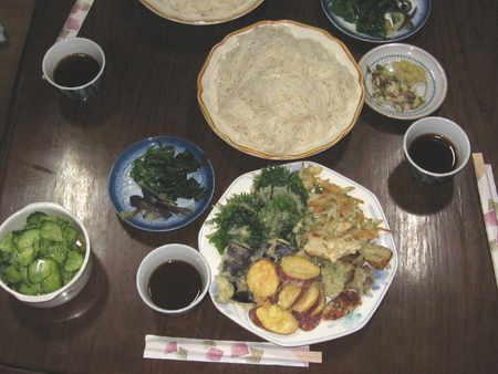 久々に素麺と天麩羅