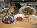 [肴]田楽、ハスきんぴら、鶏レバー、もやしと春菊の豆板醤和え、卯の花