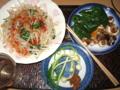 [肴]もやし春菊豆板醤和え、のびる味噌、焼マッシュールーム焼ピーマン