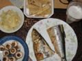 [肴]竹の子土佐煮、がり、焼きマッシュルーム、塩焼き鰊