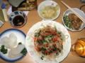 [肴]がり、オクラ烏賊なめこ納豆、もやし韮豆板醤和え、烏賊素麺