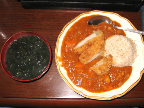 カツカレー&ワカメスープ