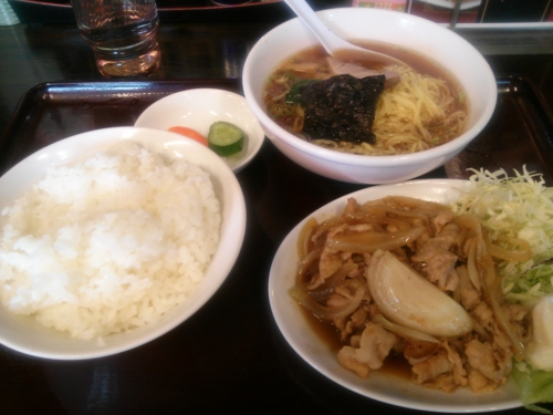 豚肉の生姜炒めラーメン餃子セット@東京亭