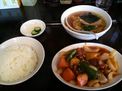 酢豚とラーメン餃子セット@東京亭