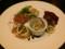 前菜(牡蠣のスモーク、コンビーフカナッペ、きのこマリネ、ロースト