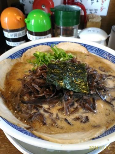 とんこつ醤油+チャーシュー+きくらげ@哲麺