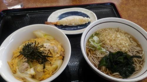 親子丼セットたぬき蕎麦+海老天