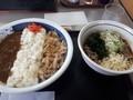 [山田うどん][カレー][蕎麦]カレー牛丼セット冷やしたぬき蕎麦
