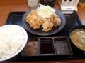 [からやま][☆☆]合い盛り定食(にんにくから揚げ)