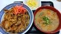[吉野家][☆][牛丼][丼]朝牛セットアタマの大盛豚汁変更