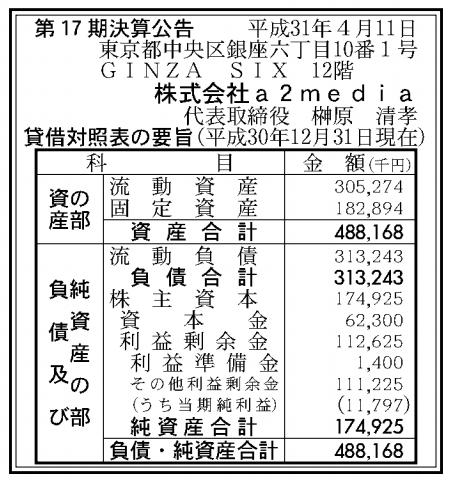 株式会社a2media 売上高