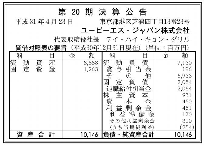 ユーピーエス・ジャパン株式会社 売上高