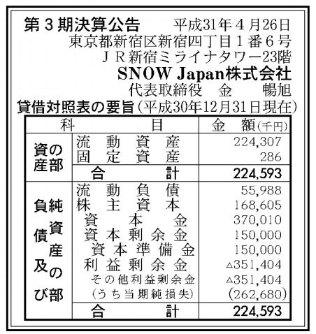 SNOW Japan株式会社 売上高