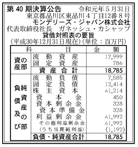モンデリーズ・ジャパン株式会社 売上高