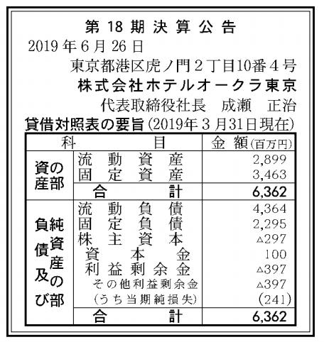 株式会社ホテルオークラ東京 売上高