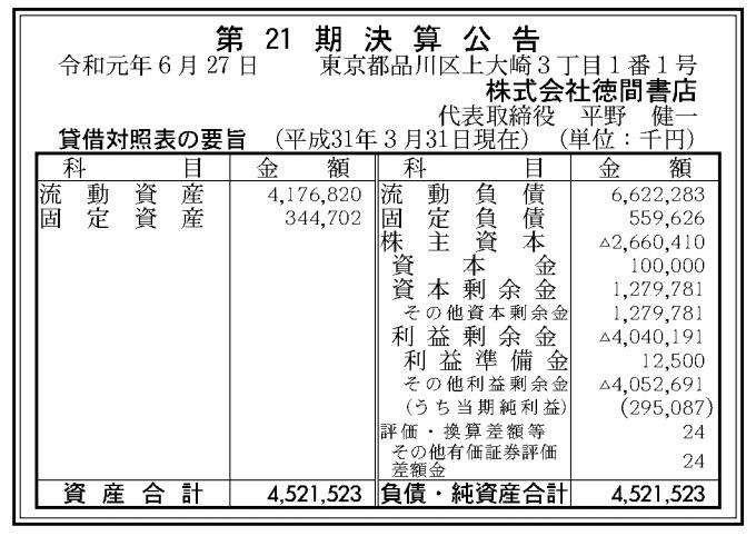 株式会社徳間書店 売上高