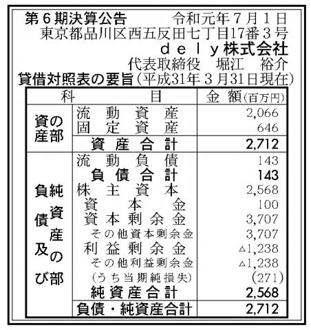 dely株式会社 売上高