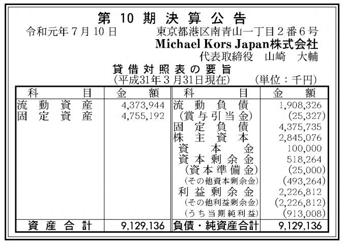 Michael Kors Japan株式会社 売上高