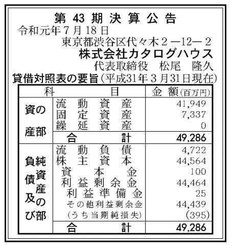 株式会社カタログハウス 売上高