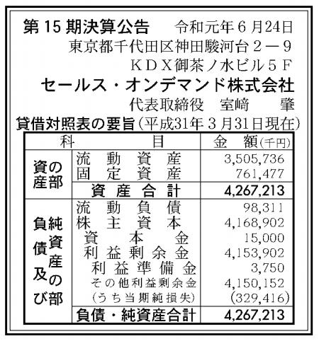 セールス・オンデマンド株式会社 売上高