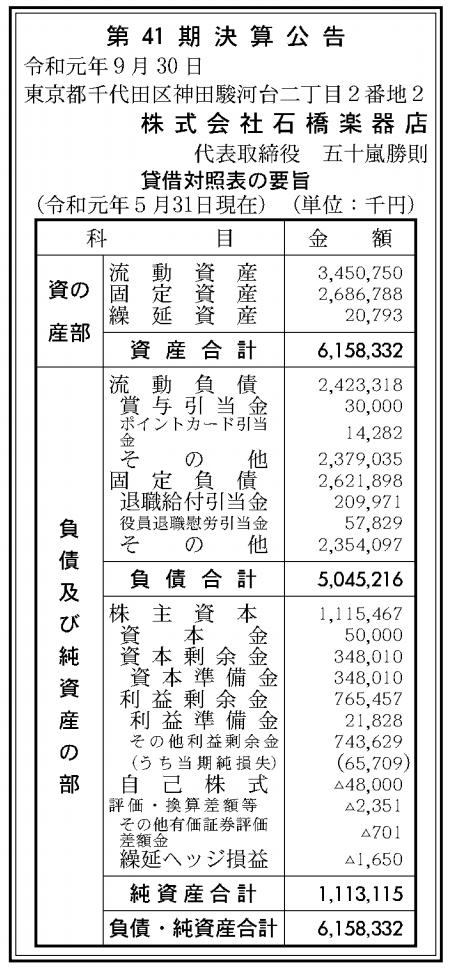 株式会社石橋楽器店 売上高