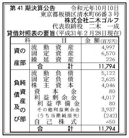 株式会社二木ゴルフ 売上高
