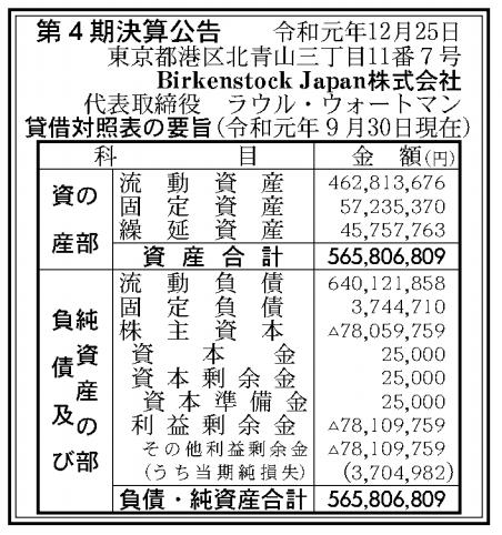 Birkenstock Japan株式会社 売上高