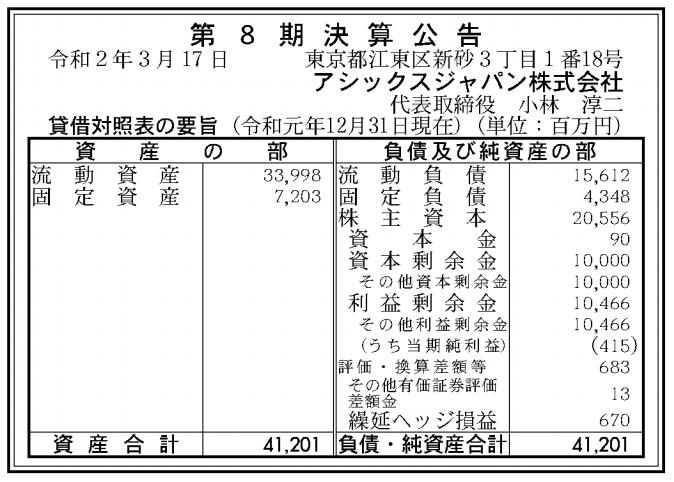 アシックスジャパン株式会社 売上高