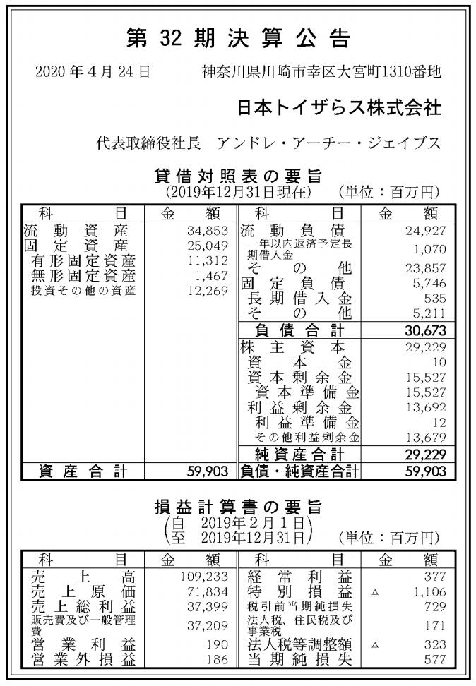 日本トイザらス株式会社 売上高