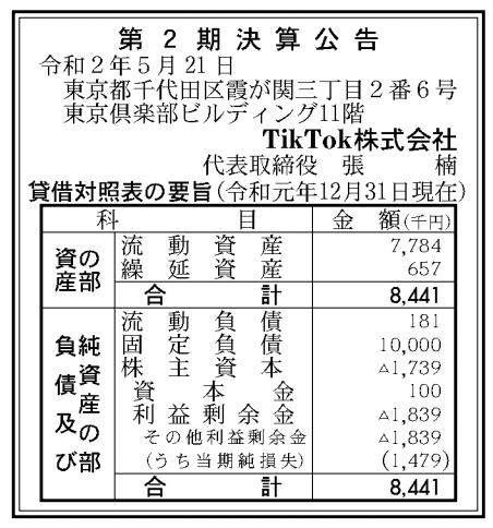 TikTok株式会社 売上高