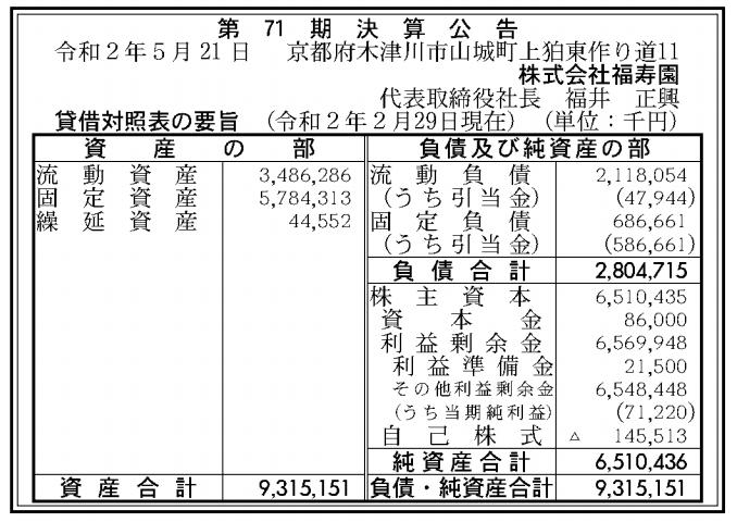 株式会社福寿園 売上高
