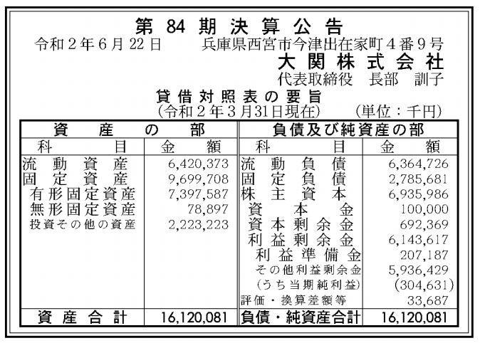 大関株式会社 売上高