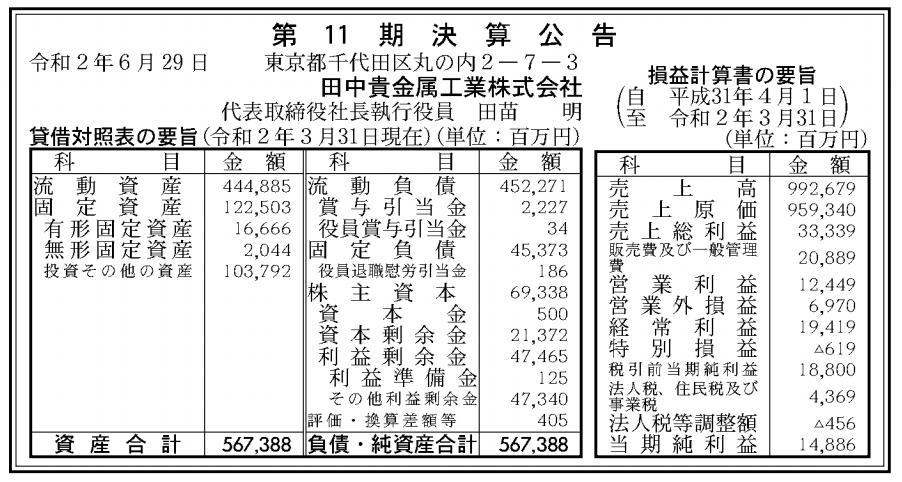 田中貴金属工業株式会社 売上高