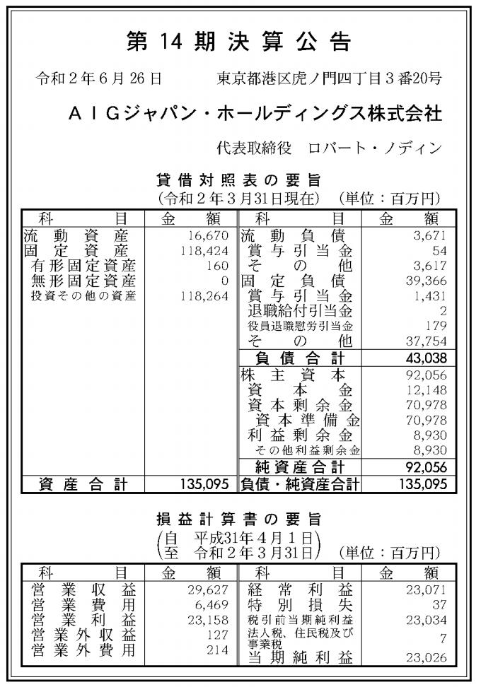 AIGジャパン・ホールディングス株式会社 売上高