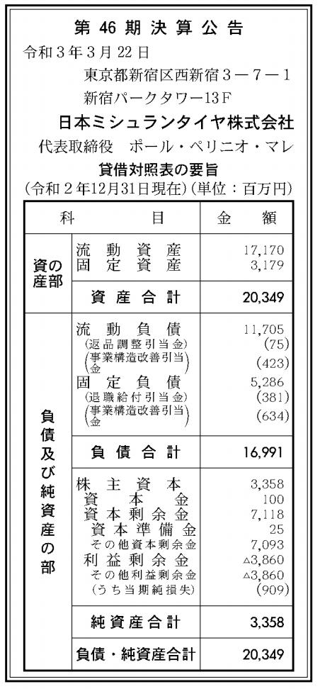 日本ミシュランタイヤ株式会社 売上高